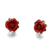 耳環 925純銀鑲鑽-時尚玫瑰花生日情人節禮物女耳針73gt55【時尚巴黎】