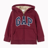 Gap男幼保暖仿羊羔絨內裡Logo連帽衫474676-酒紅色