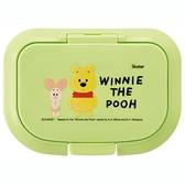 小禮堂 迪士尼 小熊維尼 方形塑膠濕紙巾蓋 濕巾盒蓋 濕巾蓋 抗菌Ag+ (綠 Q版) 4973307-54042