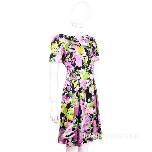 BLUGIRL 黑彩印花渲彩花朵棉質短袖洋裝 1620462-94