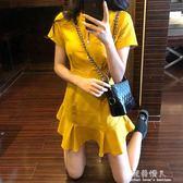 韓風Chic氣質修身短袖洋裝女夏新款包臀顯瘦魚尾裙子 完美情人精品館