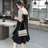 大碼女裝連身裙2019新款夏季雪紡胖mm洋氣減齡顯瘦遮肚黑色假兩件