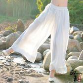 民族風文藝漢唐休閒褲女士自然腰大尺碼闊腿褲長褲
