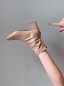 馬丁靴馬丁靴女英倫風新款春秋季單靴方頭粗跟網紅瘦瘦高跟鞋短靴子 JUST M