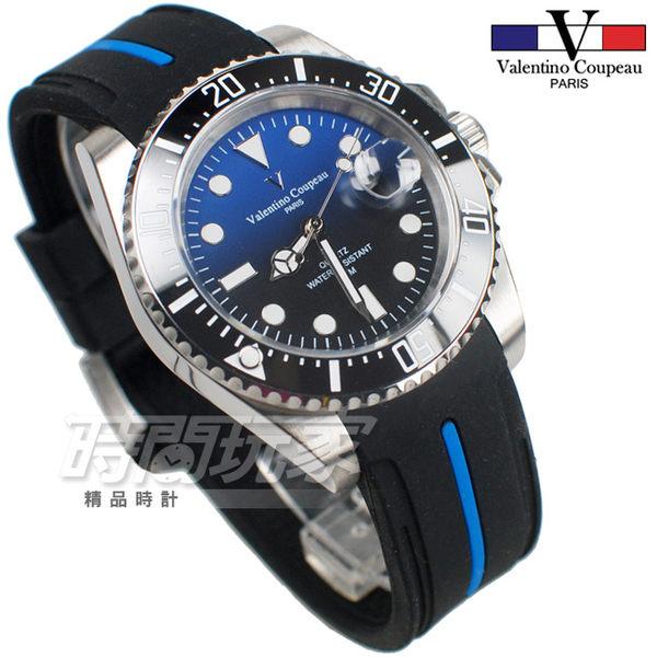 valentino coupeau 范倫鐵諾 古柏 水鬼王機械錶 夜光時刻 膠帶 防水手錶 男錶 潛水錶 V61589膠半藍