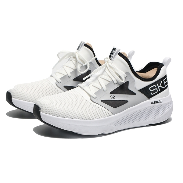 SKECHERS 慢跑鞋 GO RUN ELEVATE 白 襪套式 英文LOGO 男 (布魯克林) 220182WBK