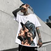 UMTB原創潮牌歐美嘻哈oversize寬鬆街舞圓領短袖五分袖T恤男女tee  【PINKQ】