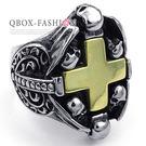 《 QBOX 》FASHION 飾品【R10023527】精緻個性十字架骷顱頭鑄造鈦鋼戒指/戒環(收藏推薦)