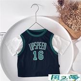 兒童短袖上衣男童T恤籃球服兒童運動短袖韓版上衣假兩件 風之海