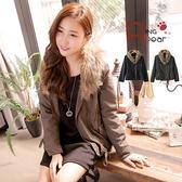 外套--百變潮女風采可拆毛領縮腰設計翻蓋口袋下擺抽繩短版外套(黑.綠S-2L)-J191眼圈熊中大尺碼