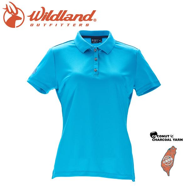 【Wildland 荒野 女 椰炭紗YOKE領抗菌上衣《湖水綠》】0A71657/POLO衫/運動上衣抗UV/涼爽散熱/吸濕快乾