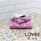 Lovel 專利咖啡紗除臭抗UV圓點3件組(浴巾/毛巾/方巾)-紫