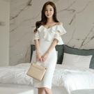 一字領/平口洋裝 2021新款韓版性感露肩一字領吊帶禮服裙淑女荷葉邊修身包臀連身裙