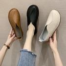 女士樂福鞋 小皮鞋女夏季新款休閒平底圓頭一腳蹬樂福鞋【快速出貨】