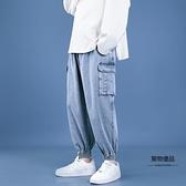 松緊腰系繩牛仔褲男工裝哈倫束腳褲子夏季寬鬆九分褲【聚物優品】