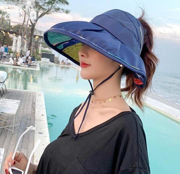 遮陽帽 女遮臉空頂大沿韓版太陽帽夏季可折疊戶外百搭 - 歐美韓
