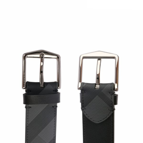 【BURBERRY】London 格紋腰帶(碳灰/黑) 8006048 A1008