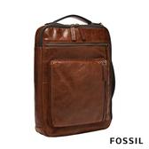 FOSSIL BUCKNER 行動族咖啡色皮革信差電腦包 MBG9483222