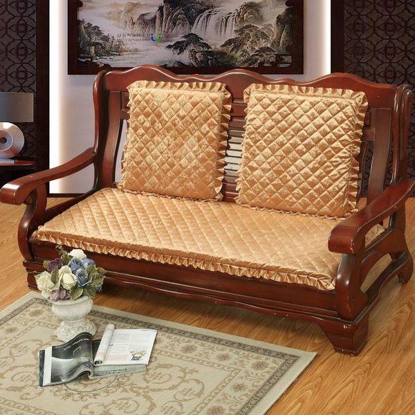 實木沙發墊海綿坐墊加厚三人座老式防滑連體長椅墊