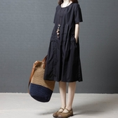 初心 棉麻短袖洋裝 【D8102】 純色 柔軟 輕薄 棉麻 短袖 中大尺碼 連身裙 寬鬆