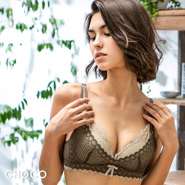 Choco Shop-柔情粉黛‧親膚舒柔蕾絲無鋼圈雙拉提內衣(綠色) 70B~85D