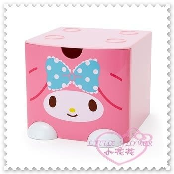 ♥小花花日本精品♥Hello Kitty 美樂蒂Melody單抽收納桌上置物盒小物盒飾品盒積木盒大L號(預購)