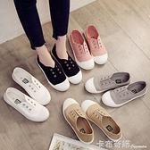 春季新款一腳蹬懶人鞋帆布鞋女百搭小白鞋夏學生平底休閒板鞋