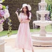 洋裝-短袖夏季雪紡印花中長款女連身裙73pu12【巴黎精品】