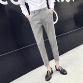 西褲男修身型韓版潮流九分褲黑色青年男款帥氣免燙休閒正裝小腳褲