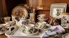 (贈托盤)英國Portmeirion-Botanic Garden 經典植物園系列-直筒杯盤雙人下午茶組(二杯一壺)