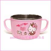 asdfkitty可愛家☆KITTY皇冠防燙304不鏽鋼有把手鋼碗XL號/大湯杯/湯碗-韓國正版商品