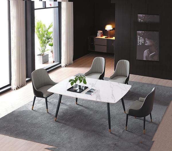 735-4 SK30岩板 大理石白130餐桌 (黑砂修金腳) W130×D70×H74公分
