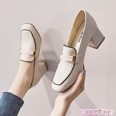 樂福鞋單鞋2021年春秋新款網紅高跟鞋女粗跟小香風皮鞋女英倫樂福鞋 迷你屋 新品