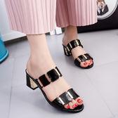 【年終大促】2018新款女裝中跟粗跟涼拖鞋女夏涼鞋女士時尚一字拖高跟百搭女鞋
