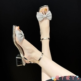 高跟涼鞋 法式一字帶女涼鞋夏季仙女蝴蝶結方頭涼鞋女中跟新款高跟涼鞋 愛丫 新品