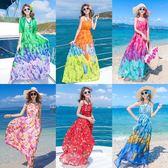 洋裝 長裙印花顯瘦雪紡連身裙波西米亞海邊度假沙灘裙