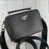 BRAND楓月 PRADA 普拉達 黑防刮皮相機包 肩背包 側背包 斜背包 手提包 可拆背帶 十字紋 三角鐵牌