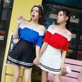 套裝女夏2018新款韓版氣質一字領排扣針織衫上衣 高腰百褶裙A字裙