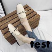 豆豆鞋 女韓版平底淺口方頭百搭單鞋 艾米潮品館