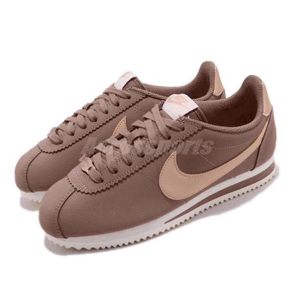 【海外限定】Nike 阿甘鞋 Wmns Classic Cortez Leather 咖啡 米白 復古慢跑鞋 皮革 女鞋【PUMP306】 AV4618-200