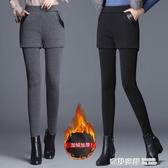 高腰小腳褲女假兩件打底褲加厚秋冬外穿彈力短褲裙保暖小個子顯瘦 雙12購物節