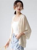 防曬衣女開衫夏九分袖短款外搭白色雪紡寬鬆披肩空調衫外套薄