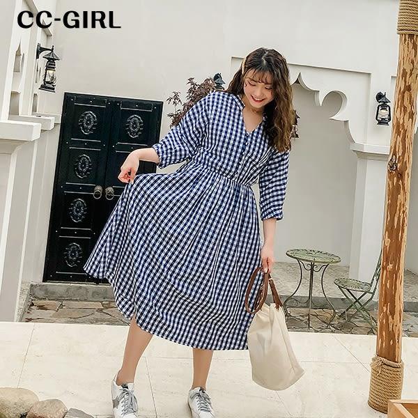 V領藍格紋洋裝