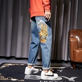 春季刺繡牛仔褲男型男上山虎寬鬆大碼ins街頭潮流復古直筒牛仔褲  降價兩天