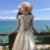 無袖洋裝夏裝女裝2018韓版中長款背后交叉無袖連身裙高腰露背度假長裙 貝芙莉女鞋