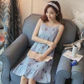 夏季睡裙女士韓版中長裙清新學生可愛睡衣短袖純棉夏天寬松家居服