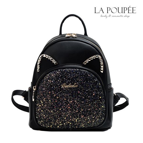 後背包 閃耀貓星人貓耳朵造型後背包 2色-La Poupee樂芙比質感包飾 (現貨)