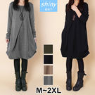 【V9159】shiny藍格子-盛冬絮語.寬鬆褶皺不規則口袋長袖連衣裙