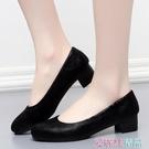 職業女鞋春秋夏季老北京布鞋女鞋單鞋黑色高跟粗跟工作鞋圓頭41禮儀鞋職業 愛麗絲