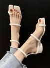 2021春夏新款個性涼鞋女夾趾套趾時尚粗跟歐美風高跟羅馬女鞋子潮 果果輕時尚